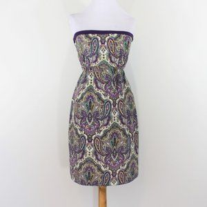 J Crew Purple Ivory Strapless Silk Dress 0 XS